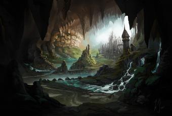 обоя фэнтези, иные миры,  иные времена, пещера, река, город