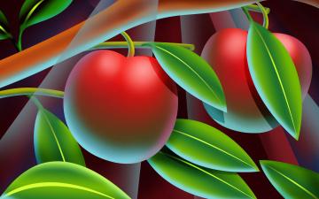 обоя векторная графика, природа , nature, ветка, персик