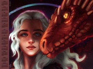 обоя календари, фэнтези, 2018, дракон, лицо, взгляд