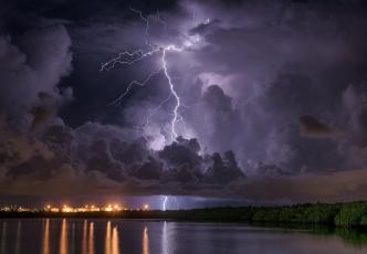 обоя природа, молния,  гроза, простор