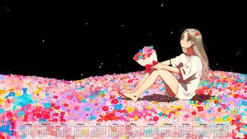 обоя календари, аниме, 2018, девочка, цветы