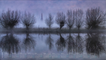 обоя календари, природа, 2018, водоем, отражение, деревья, туман