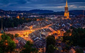обоя города, берн , швейцария, огни, вечер, панорама
