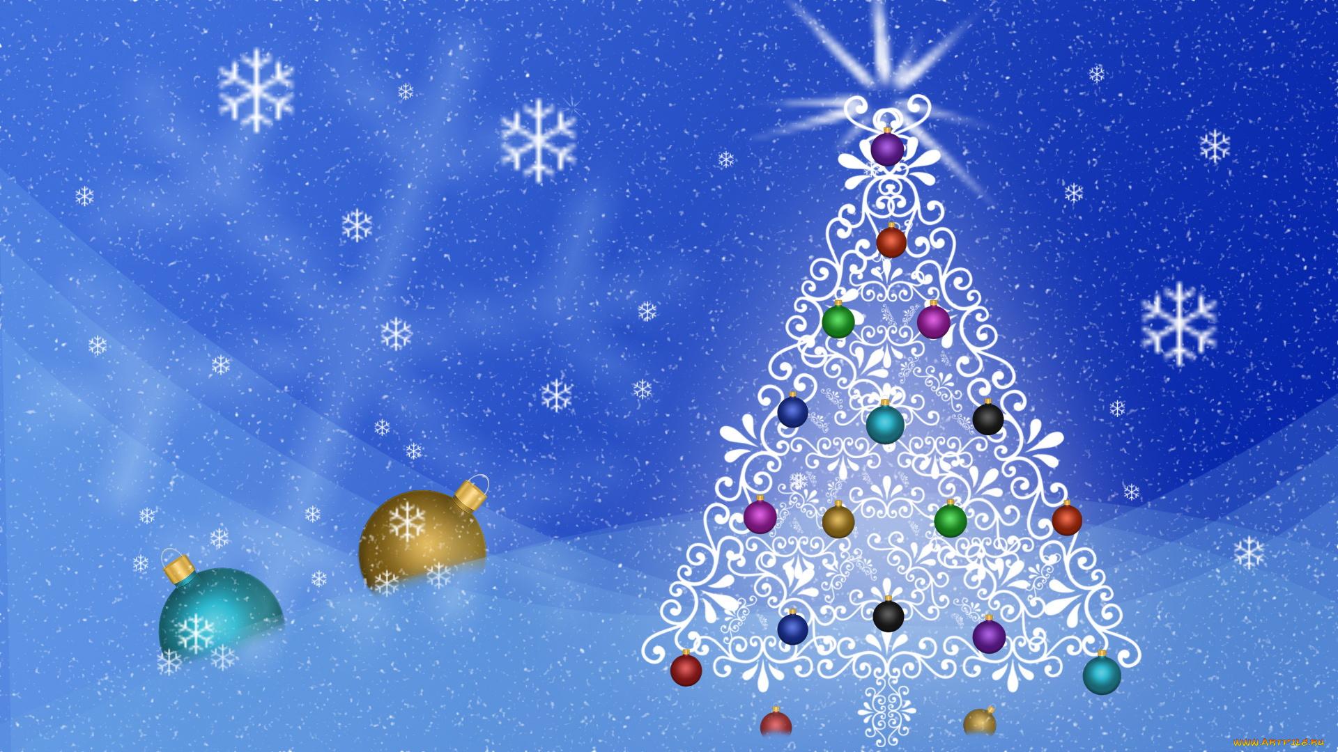 Днем рождения, открытки елка с новым годом