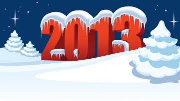 Картинка праздничные векторная графика новый год снег цифры