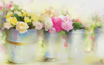 Картинка рисованное цветы рисованные розы вёдра