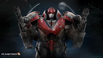 Картинка planetside видео игры доспехи оружие робот надпись