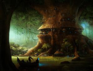 Картинка фэнтези иные+миры +иные+времена иной мир фонари озеро город лодки дерево лес