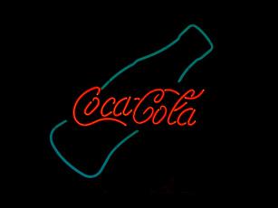 обоя бренды, coca-cola, кока-кола, неон, надпись, бутылка