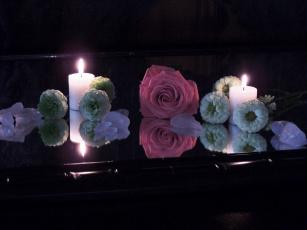 обоя разное, свечи, роза, огоньки