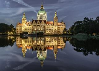 обоя hannover - germany, города, - дворцы,  замки,  крепости, дворец, водоем