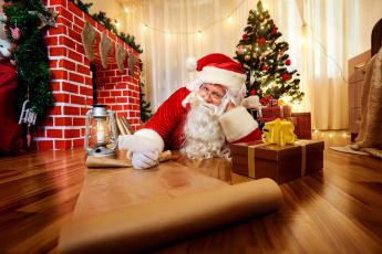 обоя праздничные, дед мороз,  санта клаус, фонарь, санта, елка, коробки, подарки