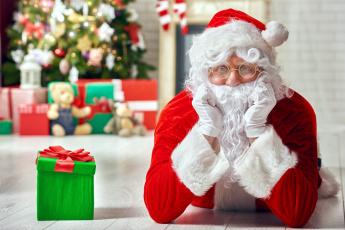 обоя праздничные, дед мороз,  санта клаус, подарок, бант, санта