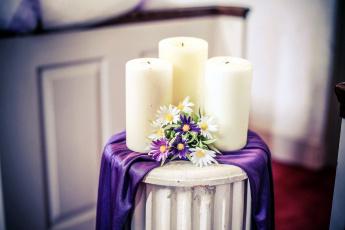 обоя разное, свечи, композиция