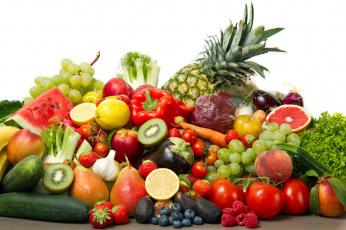 обоя еда, фрукты и овощи вместе, виноград, арбуз, ананас, капуста, перец, помидоры