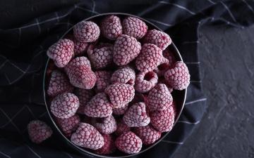 обоя еда, малина, много, замороженные, ягоды