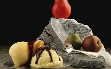 обоя еда, мороженое,  десерты, соус, шоколадный, груши