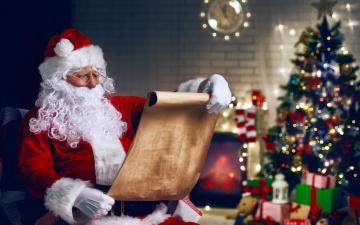 обоя праздничные, дед мороз,  санта клаус, елка, подарки, санта