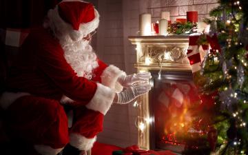 обоя праздничные, дед мороз,  санта клаус, елка, санта, камин, свечи