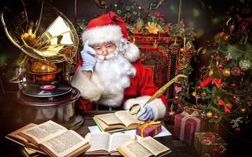 обоя праздничные, дед мороз,  санта клаус, грамофон, елка, санта, книги