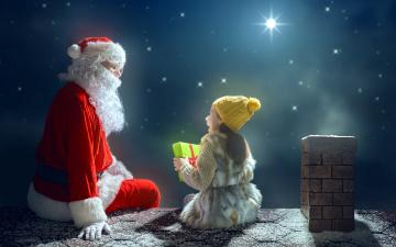 обоя праздничные, дед мороз,  санта клаус, подарок, девочка, звезды, санта