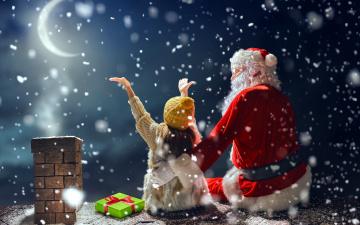 обоя праздничные, дед мороз,  санта клаус, снег, луна, подарок, девочка, санта