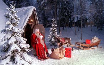 обоя праздничные, дед мороз,  санта клаус, снег, санта, мешок, сани, олень