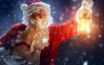 обоя праздничные, дед мороз,  санта клаус, снег, фонарь, санта