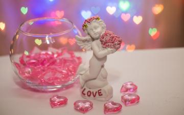 обоя праздничные, день святого валентина,  сердечки,  любовь, сердечки, надпись, ангел