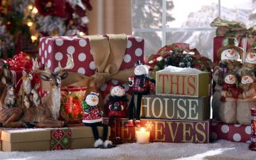 обоя праздничные, подарки и коробочки, олень, снеговики, подарки
