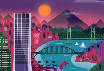 обоя векторная графика, город, city, abstraction, lollipop, material, design