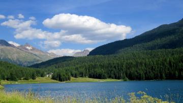 обоя природа, пейзажи, озеро, облака, лес, горы