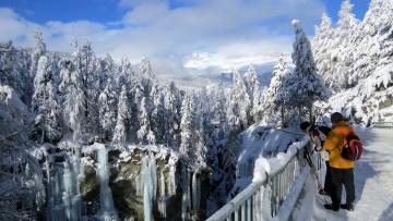 обоя природа, зима, лед, снег, горы, лес