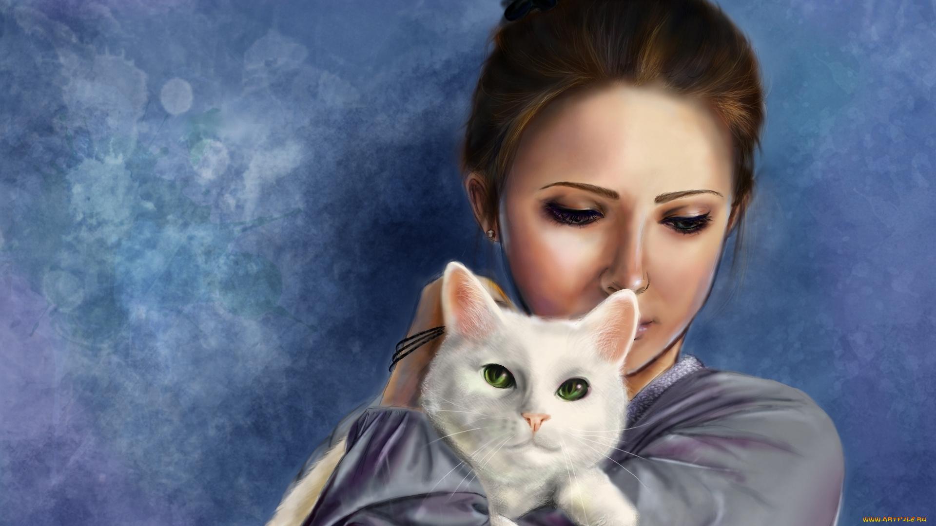 Улыбнись, картинки красивые девушки нарисованные с кошкой