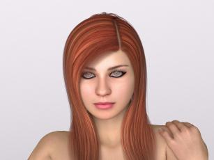 Картинка 3д+графика портрет+ portraits девушка взгляд фон рожки