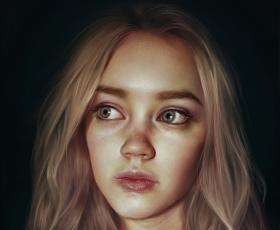 обоя рисованное, люди, блондинка, девушка, молодая, портрет, лицо