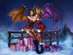 обоя фэнтези, демоны, крылья, взгляд, фон, девушки, подарки