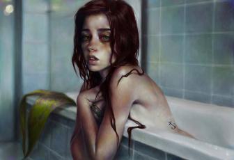 обоя рисованное, люди, мокрая, татуировки, девушка, глаза, ванна