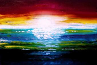 обоя рисованное, живопись, краски, солнце, закат, масло, море