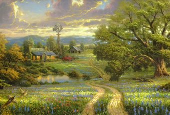 обоя рисованное, живопись, тучи, дуб, небо, фазаны, машины, дорога, деревня, дом, дерево