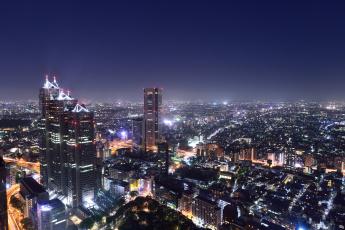 обоя города, - огни ночного города, дома, огни, ночь
