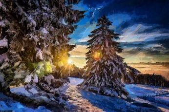 обоя рисованное, природа, зима, ели, деревья, снег, вечер, солнце