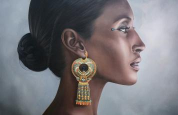 обоя рисованное, люди, девушка, брюнетка, египтянка, темнокожая, портрет, профиль, серьги
