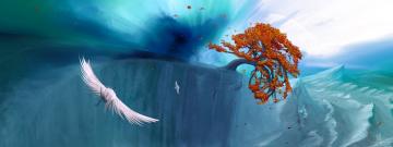 обоя рисованное, природа, птица, вода, дерево, потоп, волны, берег