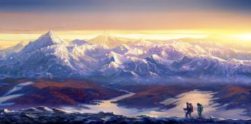 обоя рисованное, природа, горы, вершины, снег, путешественники, тучи, солнце