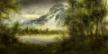 обоя рисованное, природа, пейзаж, вид, деревья, картина, горы