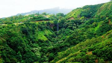 обоя природа, водопады, горы, лес