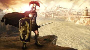 обоя рисованное, люди, мужчина, воин, город, битва, латы, щит, меч