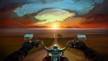 обоя рисованное, природа, дорога, закат, мотоцикл, солнце, тучи, вечер