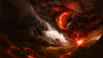 обоя рисованное, природа, стихия, вулкан, лава, молния, тучи, огонь
